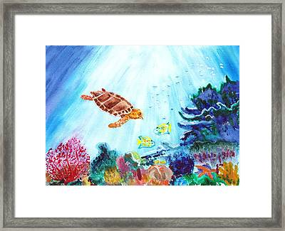 Framed Print featuring the painting Coral Reef by Donna Walsh