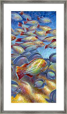Framed Print featuring the painting Coral Reef Life I by Nancy Tilles