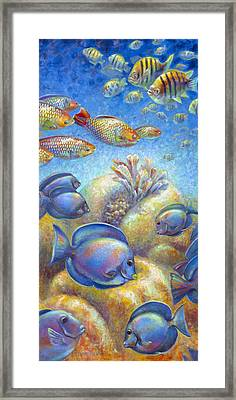 Framed Print featuring the painting Coral Reef Life II by Nancy Tilles