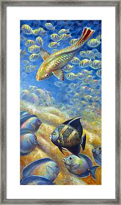 Framed Print featuring the painting Coral Reef Life IIi by Nancy Tilles
