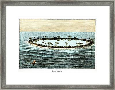 Coral Reef Surrounding A Lagoon Framed Print