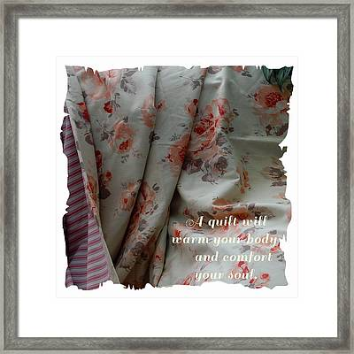 Coral Rose Quilt With Quote Framed Print by Barbara Griffin