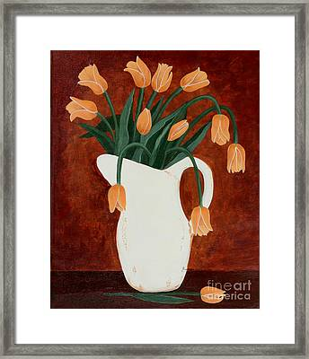 Coral Tulips In A Milk Pitcher Framed Print by Barbara Griffin