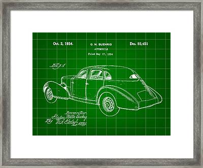 Cord Automobile Patent 1934 - Green Framed Print