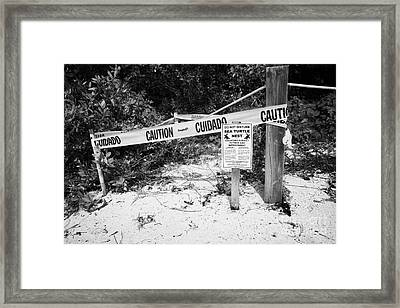 Cordoned Off Sea Turtle Nest With Warning Sign Dry Tortugas Florida Keys Usa Framed Print by Joe Fox