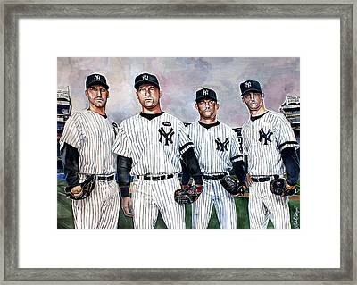 Core 4 Yankees  Framed Print by Michael  Pattison