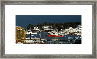 Framed Print featuring the photograph Corea Harbor Fishing Fleet by Christopher Mace