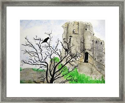 Corfe Castle And Crow Framed Print