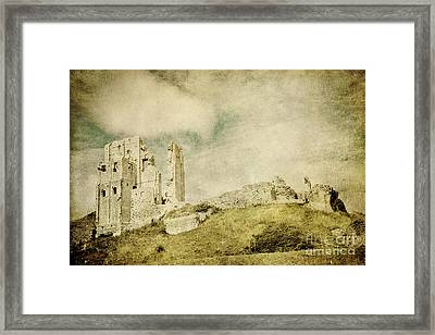 Corfe Castle - Dorset - England - Vintage Effect Framed Print by Natalie Kinnear