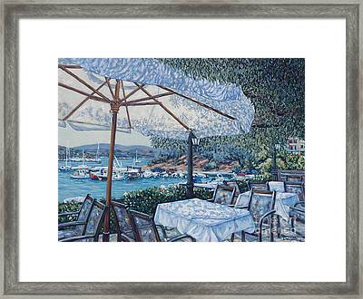 Greek  Cafe Framed Print by Danielle  Perry