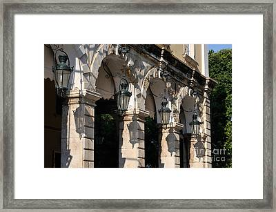 Old City Of Corfu During Sunset Framed Print