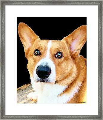 Corgi Art - Pensive  Framed Print