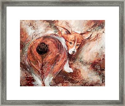 Framed Print featuring the painting Corgi Butt by Patricia Lintner