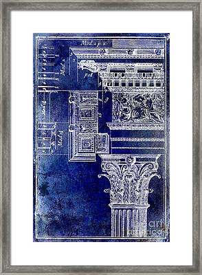 Corinthian Capitol Blue Framed Print by Jon Neidert
