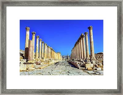 Corinthian Columns Ancient Roman Road Framed Print