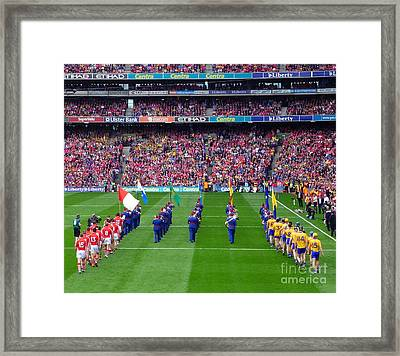 Cork And Clare Hurling Teams Framed Print