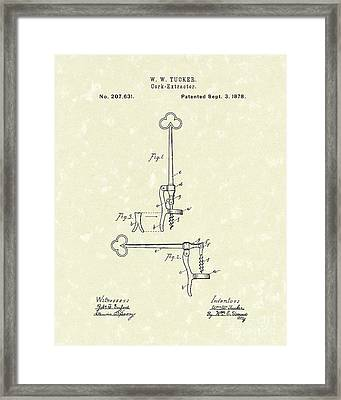 Cork Extractor 1878 Patent Art Framed Print