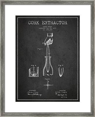 Cork Extractor Patent Drawing From 1878 - Dark Framed Print by Aged Pixel
