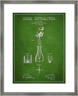 Cork Extractor Patent Drawing From 1878 -green Framed Print
