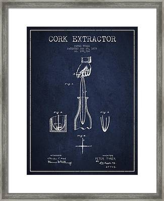 Cork Extractor Patent Drawing From 1878 -navy Blue Framed Print by Aged Pixel
