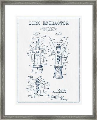 Cork Extractor Patent Drawing From 1930- Blue Ink Framed Print by Aged Pixel