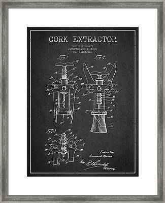 Cork Extractor Patent Drawing From 1930 - Dark Framed Print by Aged Pixel