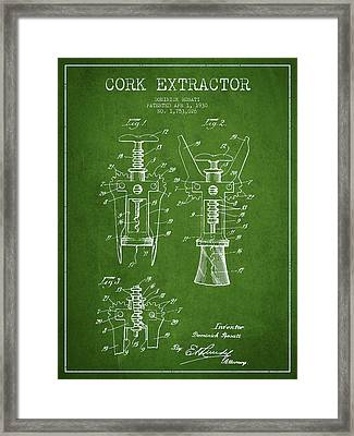 Cork Extractor Patent Drawing From 1930 - Green Framed Print by Aged Pixel