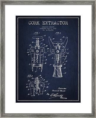 Cork Extractor Patent Drawing From 1930 - Navy Blue Framed Print by Aged Pixel