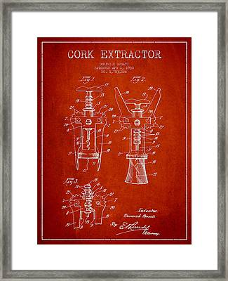 Cork Extractor Patent Drawing From 1930 - Red Framed Print by Aged Pixel