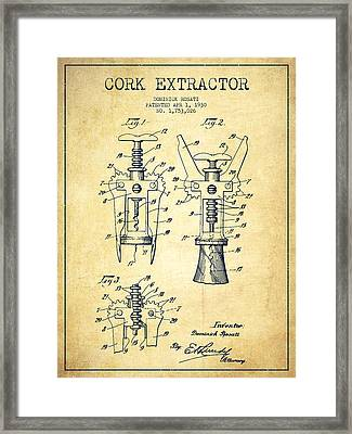 Cork Extractor Patent Drawing From 1930 - Vintage Framed Print by Aged Pixel