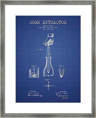 Cork Extractor Patent From 1878- Blueprint Framed Print by Aged Pixel