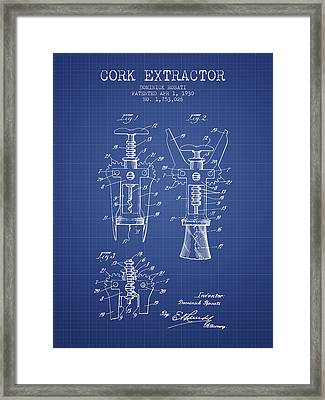 Cork Extractor Patent From 1930- Blueprint Framed Print by Aged Pixel