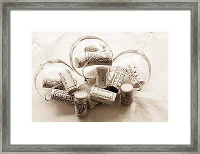 Corks And Glasses Toned Framed Print by Georgia Fowler