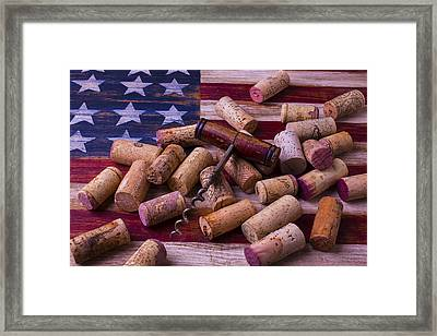 Corkscrew On American Flag Framed Print by Garry Gay