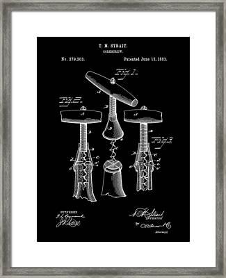 Corkscrew Patent 1883 - Black Framed Print by Stephen Younts