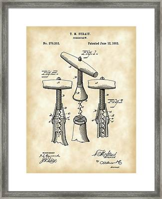Corkscrew Patent 1883 - Parchment Framed Print by Stephen Younts