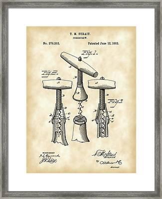Corkscrew Patent 1883 - Parchment Framed Print