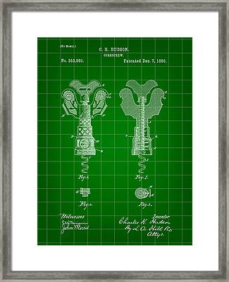 Corkscrew Patent 1886 - Green Framed Print by Stephen Younts