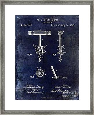 Corkscrew Patent 1897 Blue Framed Print