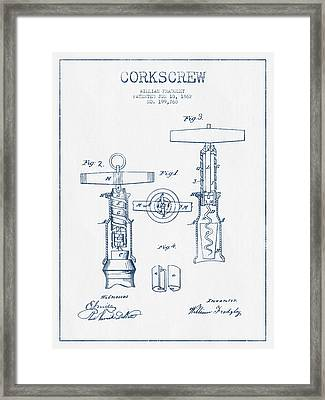 Corkscrew Patent Drawing From 1862 - Blue Ink Framed Print by Aged Pixel