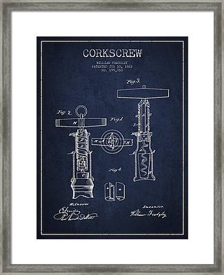 Corkscrew Patent Drawing From 1862 - Navy Blue Framed Print by Aged Pixel