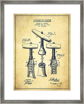 Corkscrew Patent Drawing From 1883 - Vintage Framed Print by Aged Pixel
