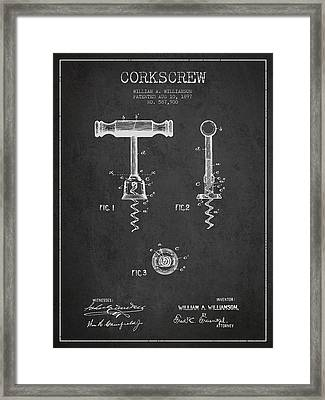 Corkscrew Patent Drawing From 1897 - Dark Framed Print by Aged Pixel