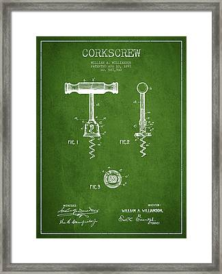 Corkscrew Patent Drawing From 1897 - Green Framed Print by Aged Pixel