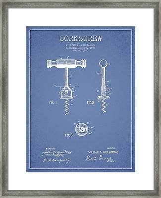 Corkscrew Patent Drawing From 1897 - Light Blue Framed Print by Aged Pixel
