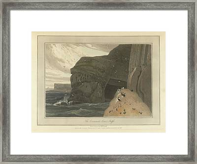 Cormorants Cave On The Cliffs Of Staffa Framed Print by British Library