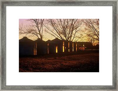 Framed Print featuring the photograph Corn Cribs At Sunset by Rodney Lee Williams
