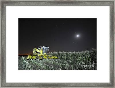 Corn Picker In A Field Framed Print by Shay Levy