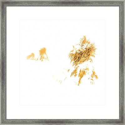 Corn Shocks In A Winter Field - Artistic Framed Print by Chris Bordeleau