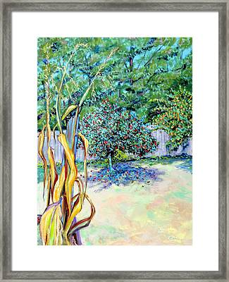 Framed Print featuring the painting Corn Stalk And Apple Tree  Autumn Lovers by Asha Carolyn Young